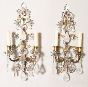 Exquisite Pr. French Bronze And Rock Crystal