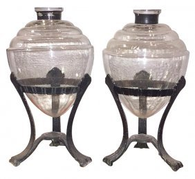 Pair Of Art Deco Glass Vases On Iron Stands