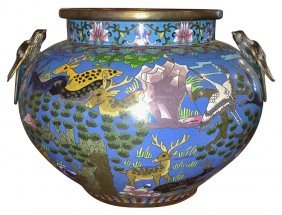 Good 19th C. Chinese Cloisonne' Jardinere