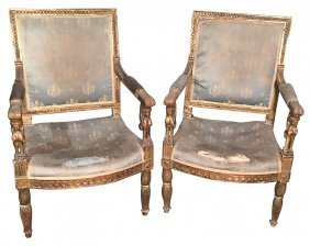Rare Pair Of Period French Empire Armchairs