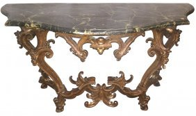 18th C. Italian Carved And Giltwood Console