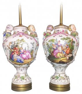 Large Pair Of Antique Dresden Style Urns