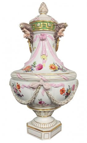 Antique French Porcelain Covered Urn