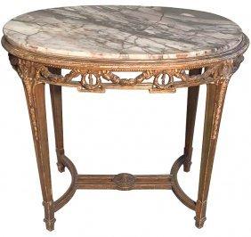 French Louis Xvi Oval Gilt-wood Salon Table