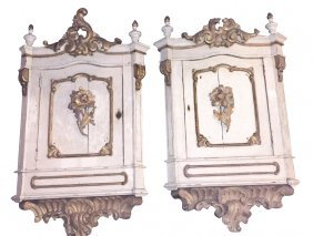 Unique Pair Of 19th C. Italian Carved And