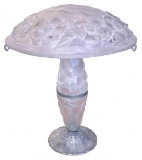 French Lalique Style Art Deco Lamp