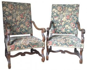 Pair Of 19th C. French Carved Walnut Arm Chairs