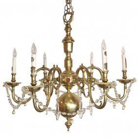 Dutch Heavy Cast Brass Chandelier, 6 Light,