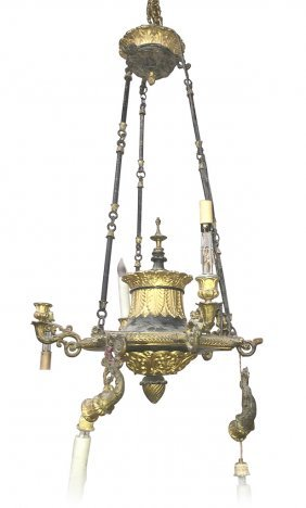 19th C. French Empire Gilt Metal Chandelier