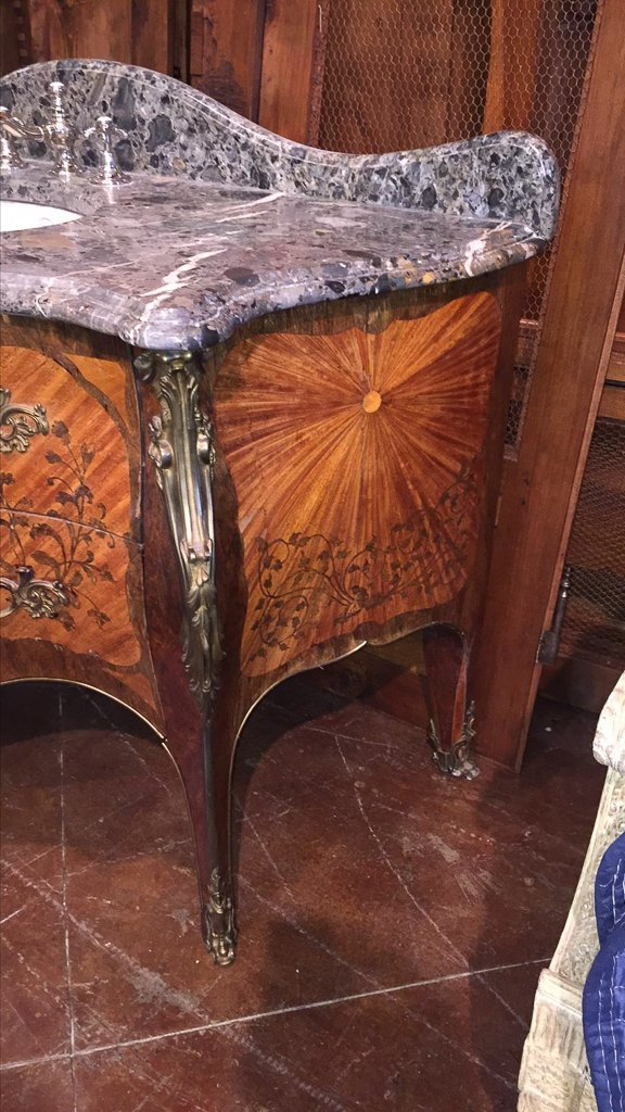 Fine French Marquetry Commode As Vanity - 6