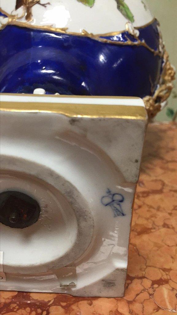 Nice Pair Of Cobalt Floral Decorated Vases - 8
