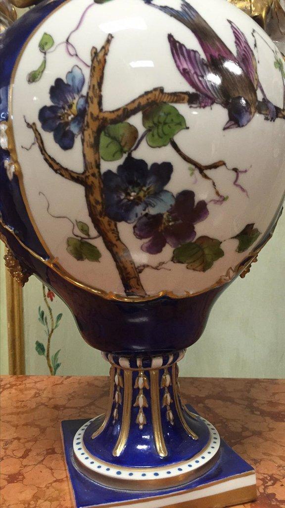 Nice Pair Of Cobalt Floral Decorated Vases - 2