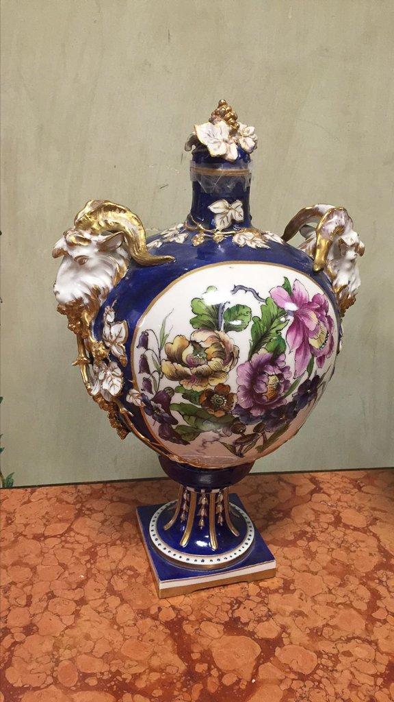 Nice Pair Of Cobalt Floral Decorated Vases - 4