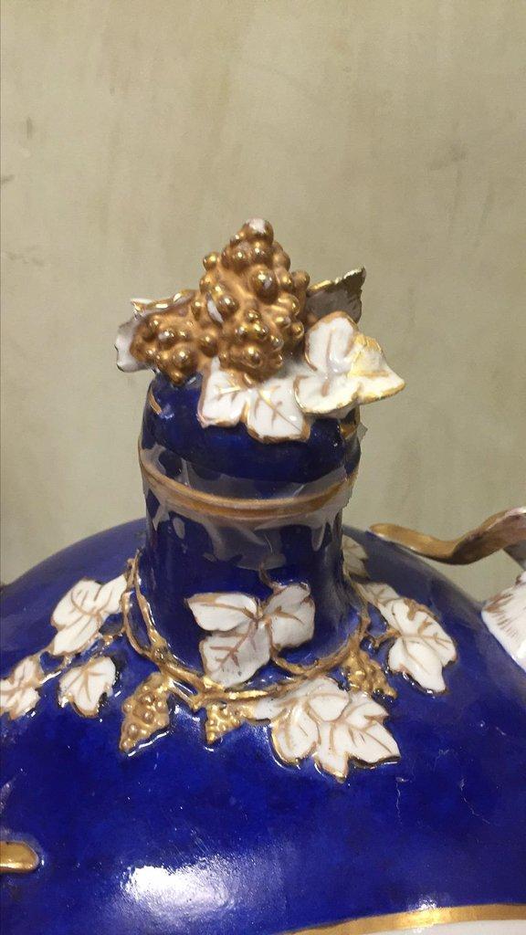 Nice Pair Of Cobalt Floral Decorated Vases - 6