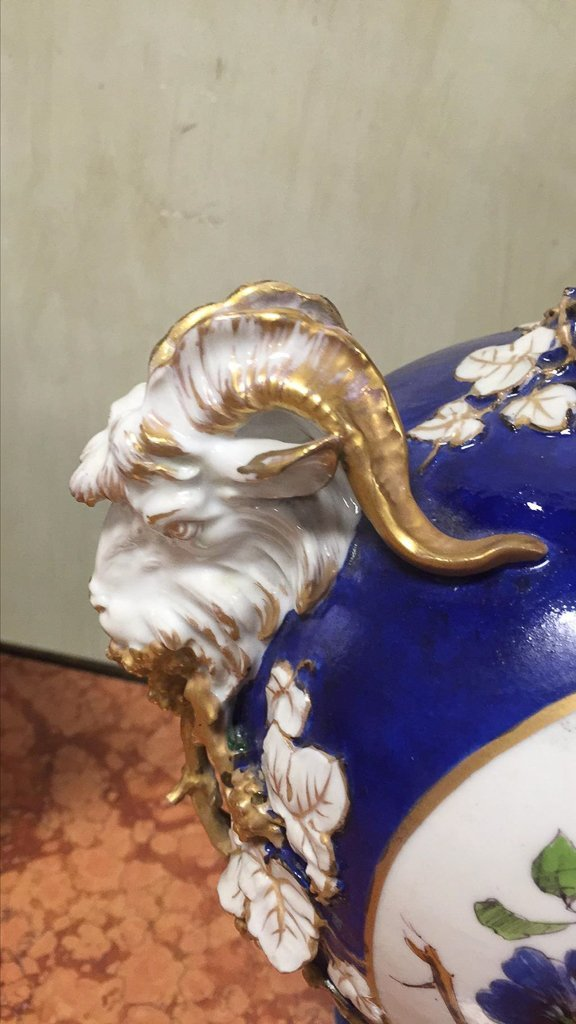 Nice Pair Of Cobalt Floral Decorated Vases - 7