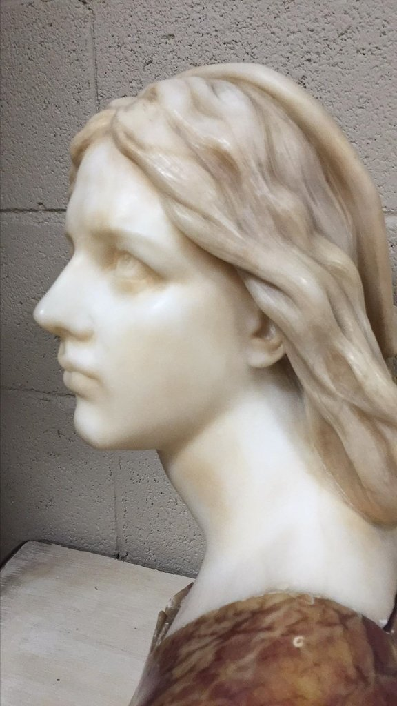 Fine Art Deco Italian Bust Of Young Beauty, - 7