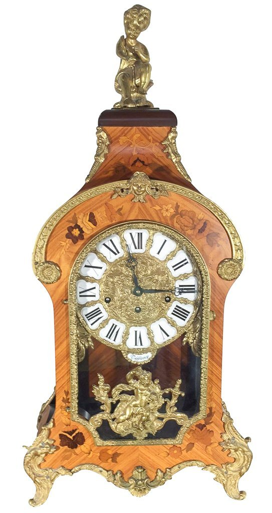 French Kingwood Inlaid Mantle Clock, Nice