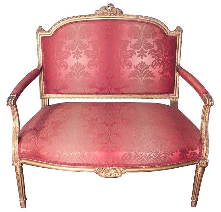 Fine Antique French Giltwood Settee, Louis Xvi