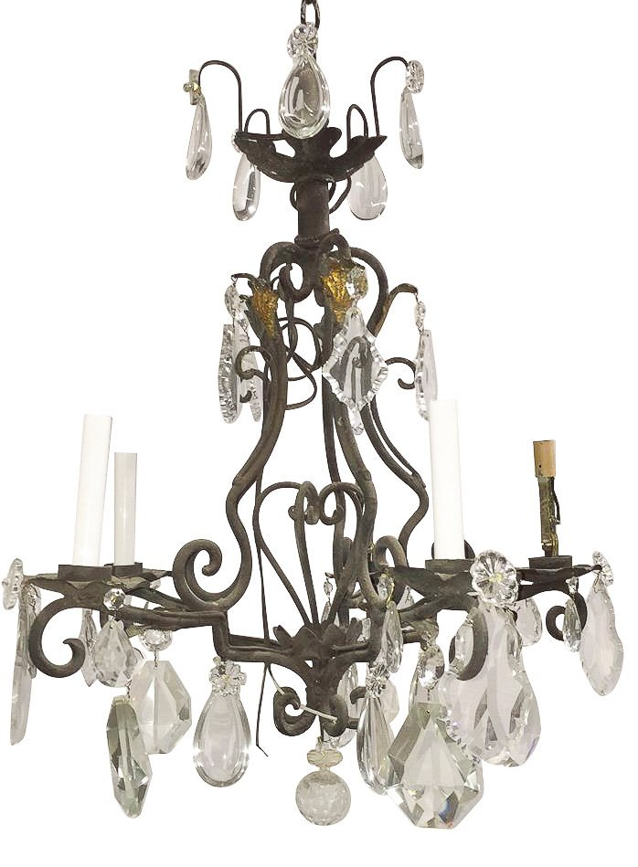 French Iron And Crystal 6-light Fixture