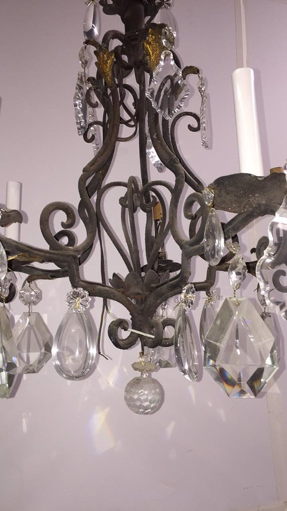 French Iron And Crystal 6-light Fixture - 2