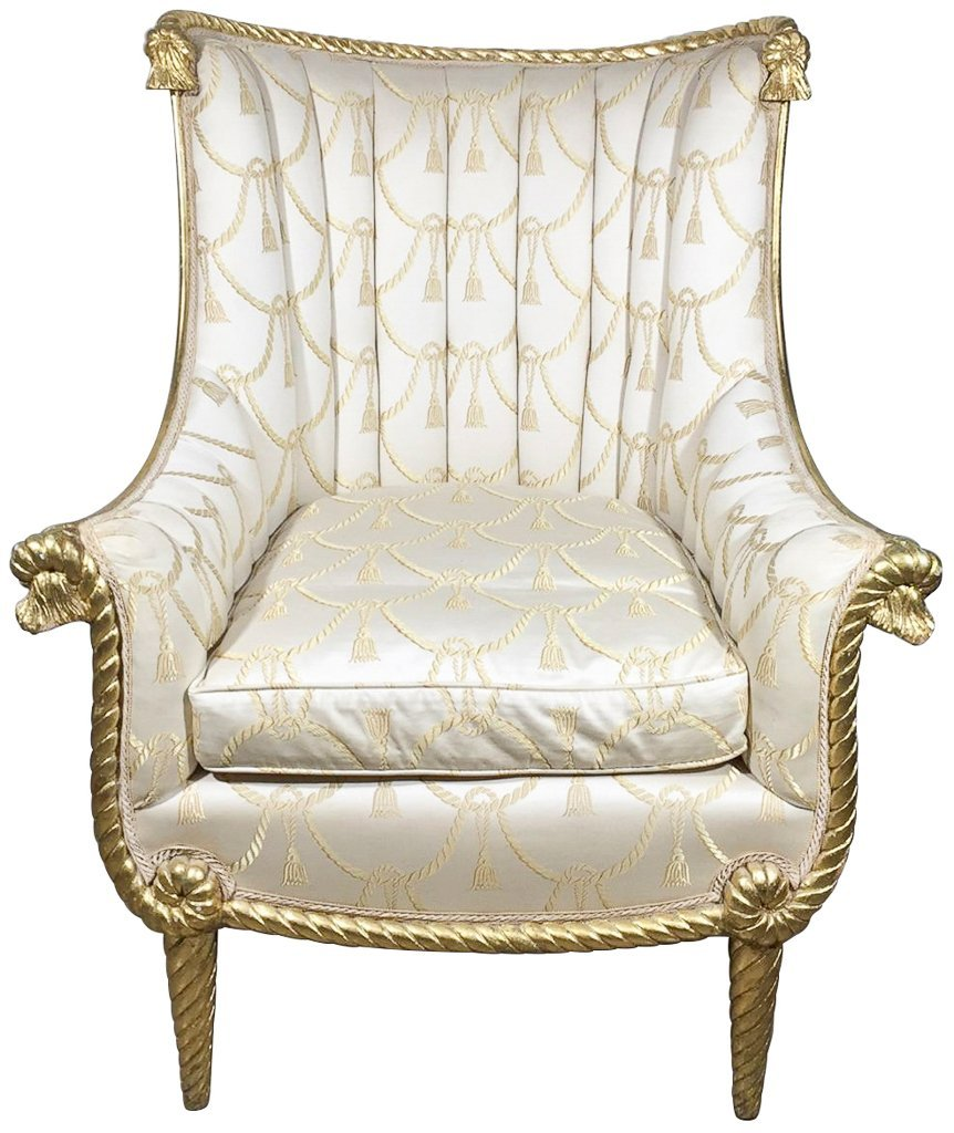 Directoire  Style Gold Gilt Wing Chair