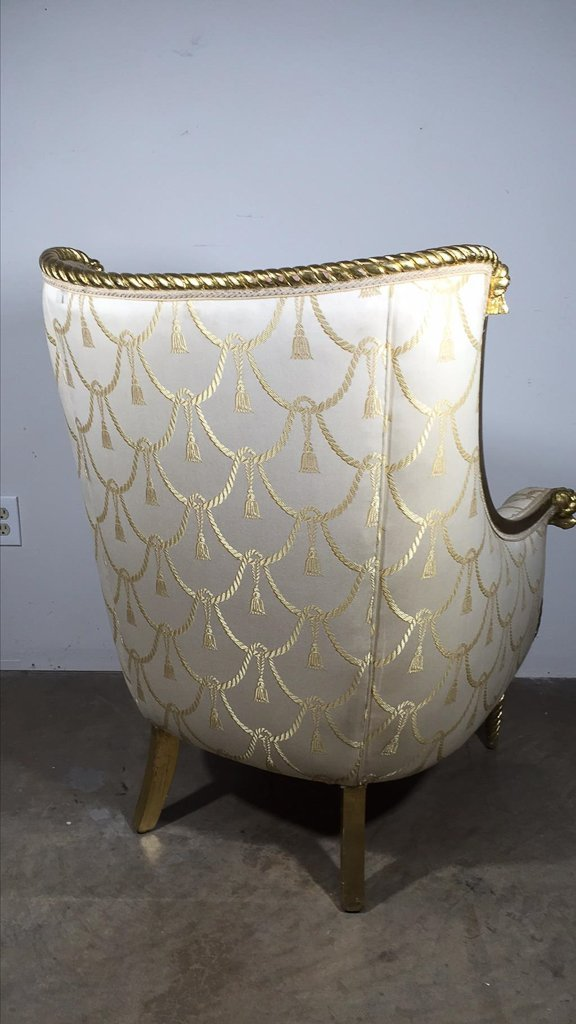 Directoire  Style Gold Gilt Wing Chair - 3