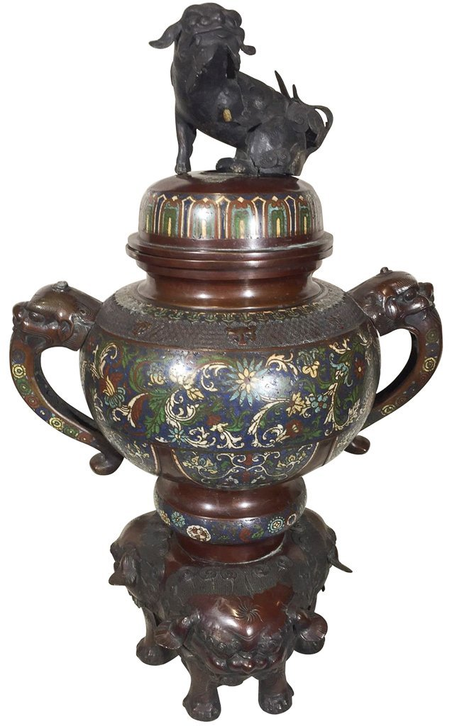 Oriental Bronze And Champleve Incense Burner