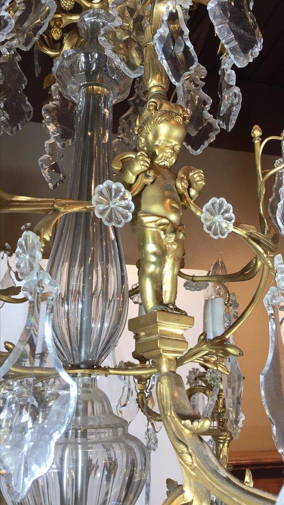 Superb French Dore Bronze 18 Lite Chandelier - 4