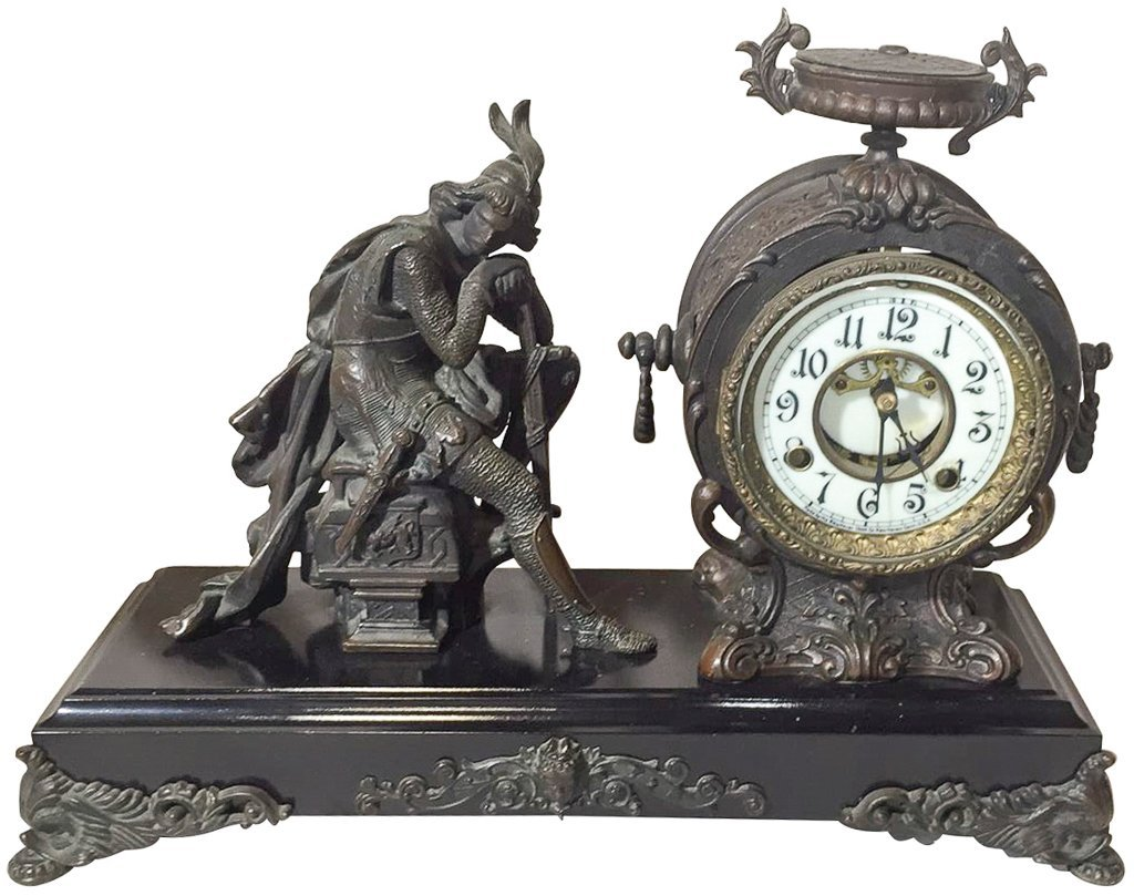 Classical French Figural Clock, Patinated Metal,