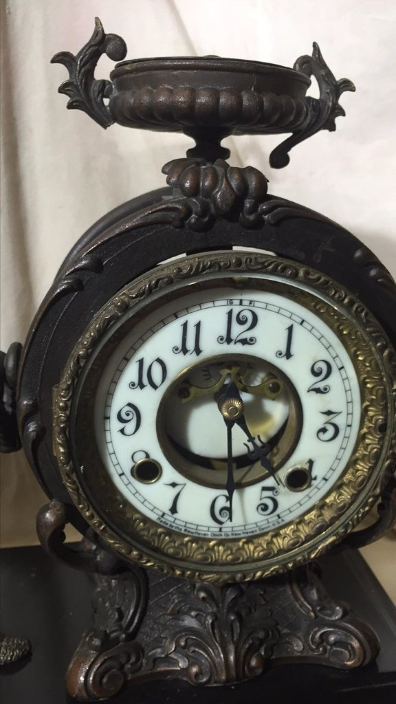 Classical French Figural Clock, Patinated Metal, - 3