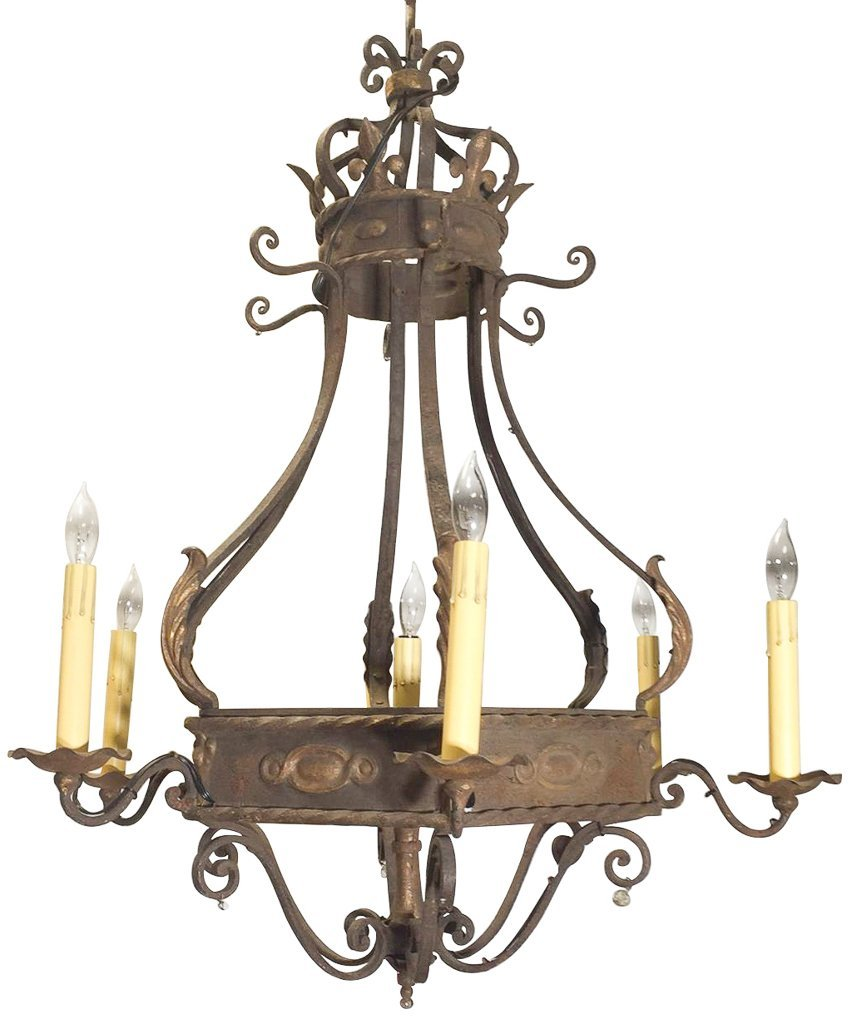 Antique French Iron Chandelier, Six Lights