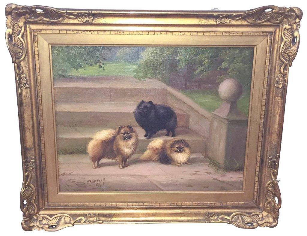 Parisian Oil On Canvas Of Pomeranians, Signed