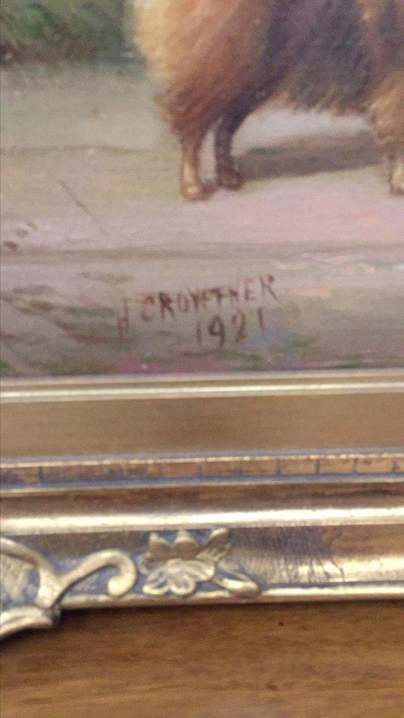 Parisian Oil On Canvas Of Pomeranians, Signed - 2