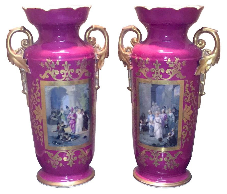 Pr. Of 19th C. French Old Paris Vases