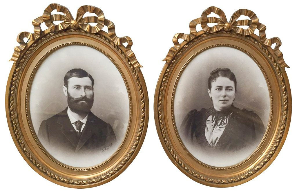Pair Of French Portrait Photos
