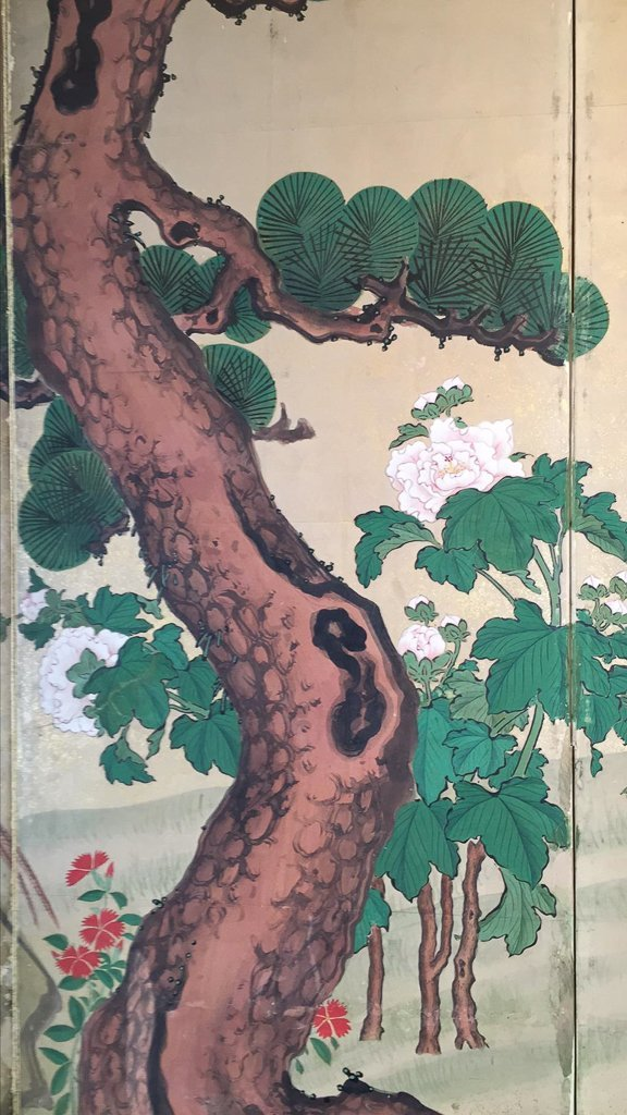 Chinese Hand Painted  4 Panel Screen, Painted - 2