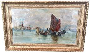 Small Oil On Canvas, Of Venetian Seen, Signed