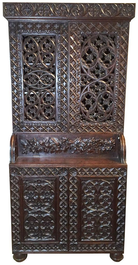 Heavily Carved Oak  Gothic Revival Book Case