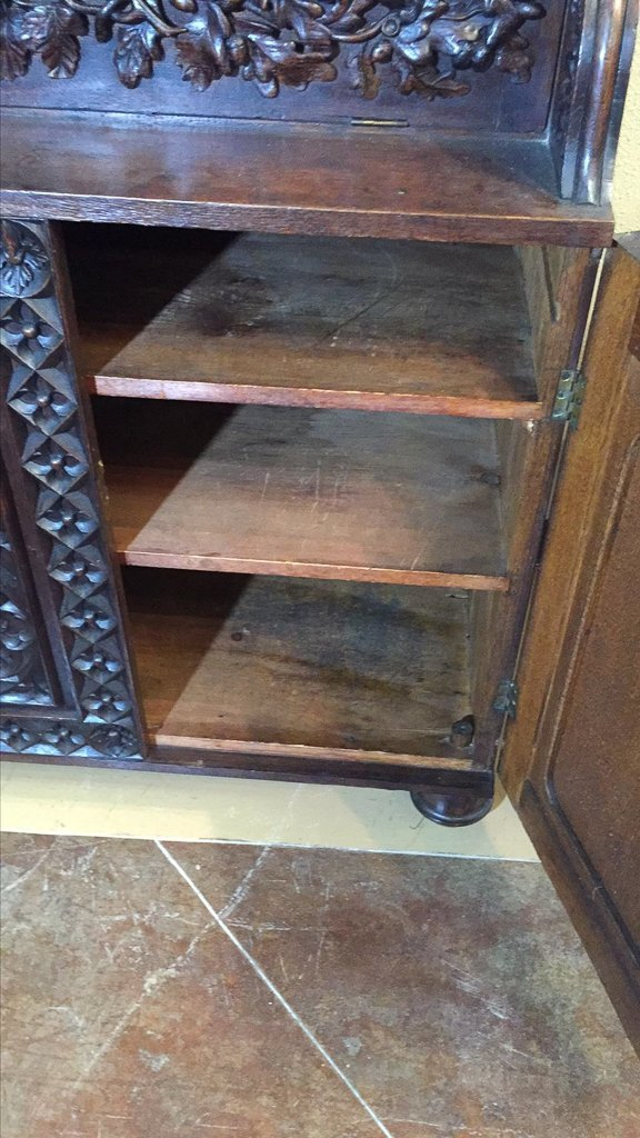 Heavily Carved Oak  Gothic Revival Book Case - 2