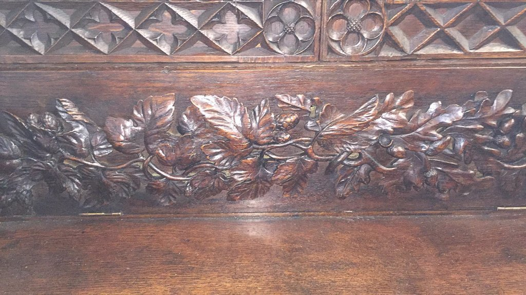 Heavily Carved Oak  Gothic Revival Book Case - 4