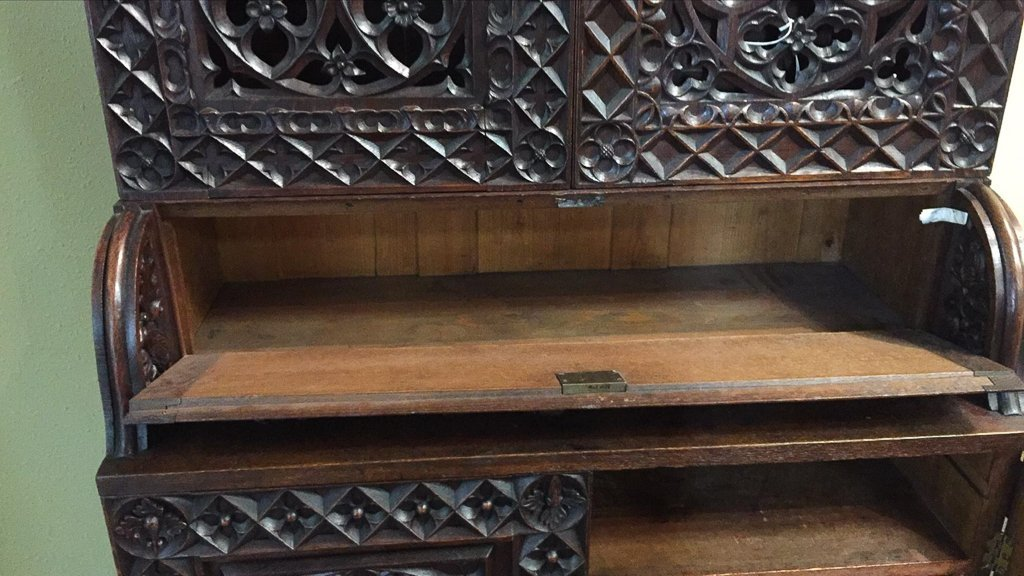 Heavily Carved Oak  Gothic Revival Book Case - 5