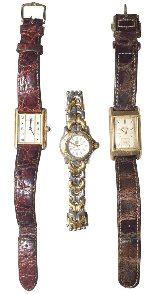 Three Ladies Watches, A Cartier With Alligator