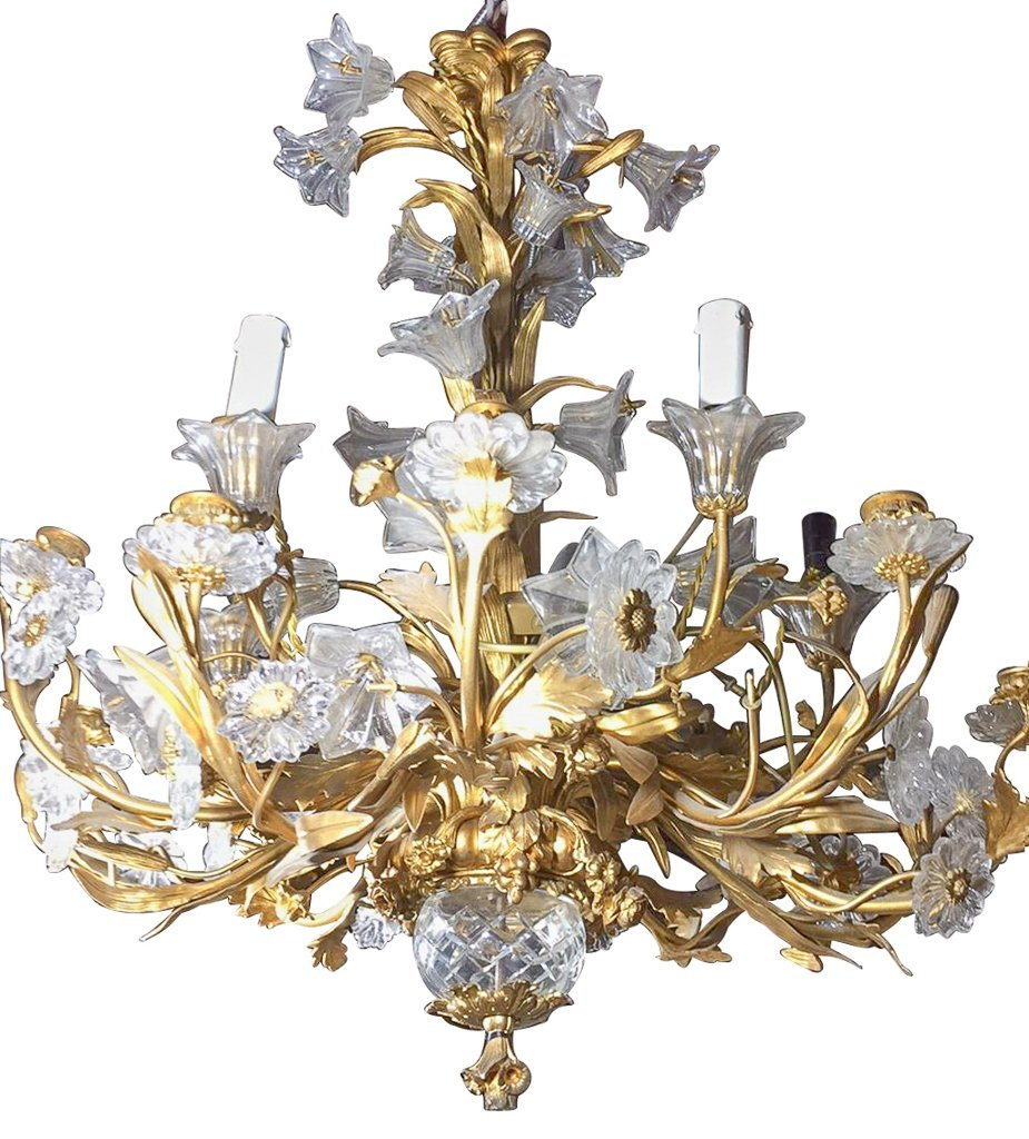 French Gold Bronze And Crystal Chandelier