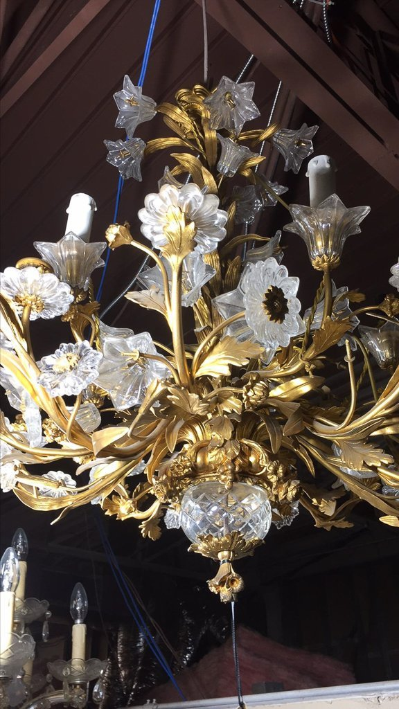 French Gold Bronze And Crystal Chandelier - 3