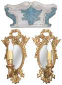 Pr Of Italian Giltwood Wall Sconce One Light