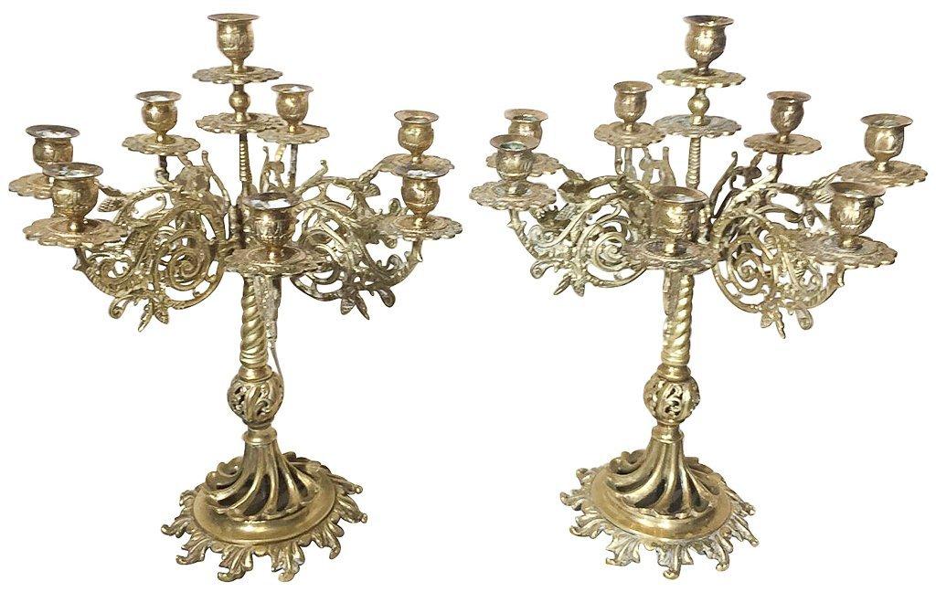 Pair Of Cast Brass Nine Light Candelabra