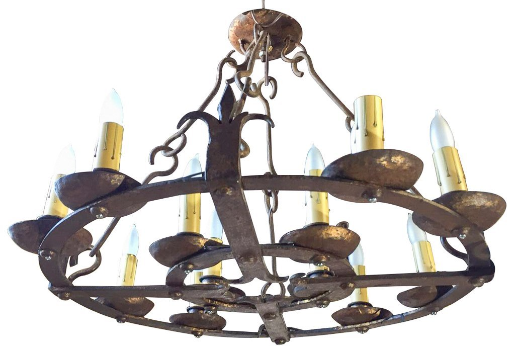 Antique French 10 Light Chandelier, Hand Forged