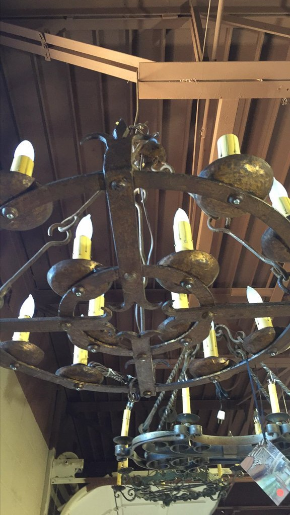 Antique French 10 Light Chandelier, Hand Forged - 3