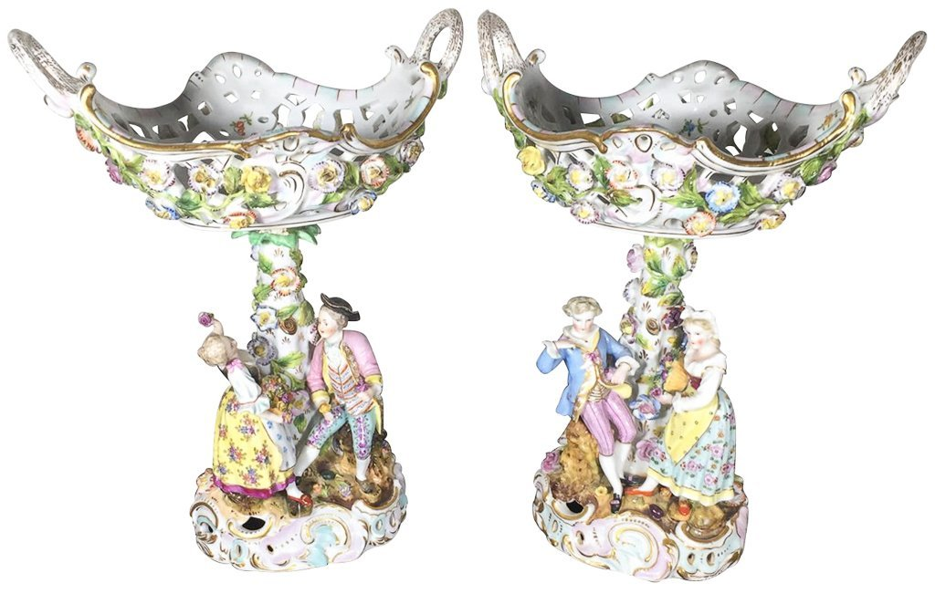 Pair Of German Dresden Figural Compotes