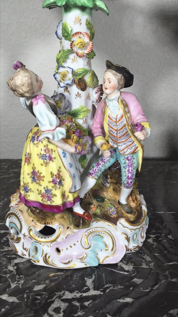Pair Of German Dresden Figural Compotes - 2